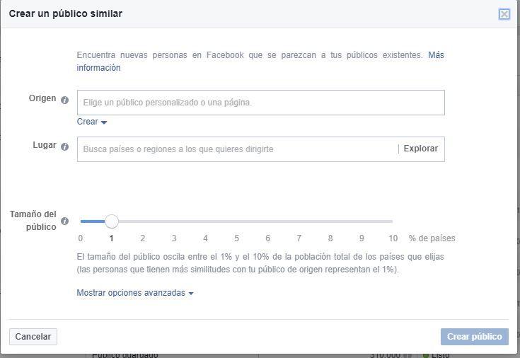 Crear público similares Facebook