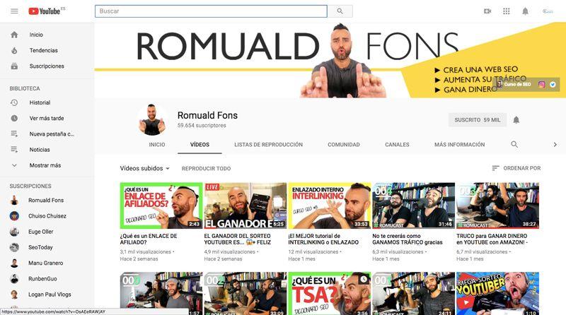 Canal YouTube - Romuald Fons