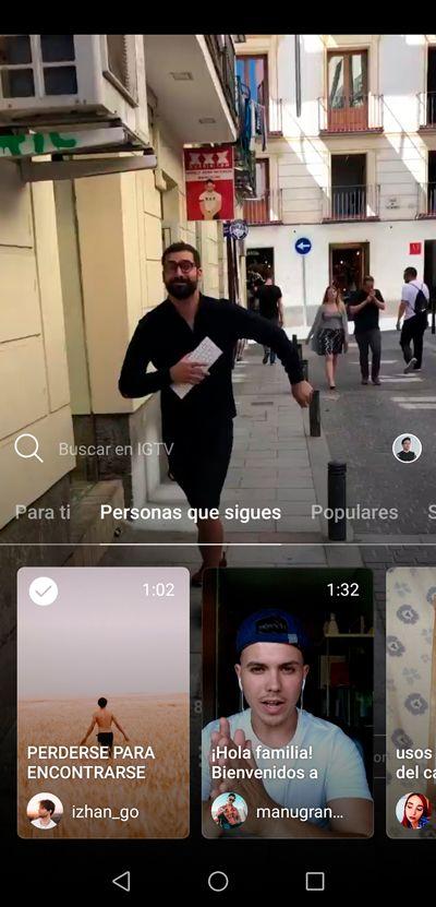Instagram TV: personas a las que sigues