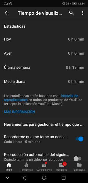 Tiempo de visualización en YouTube
